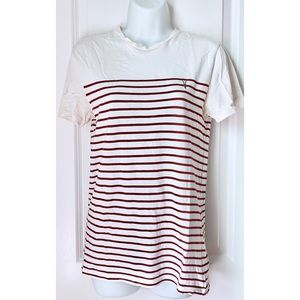 All Saints Burgundy Striped Short Sleeve Tee